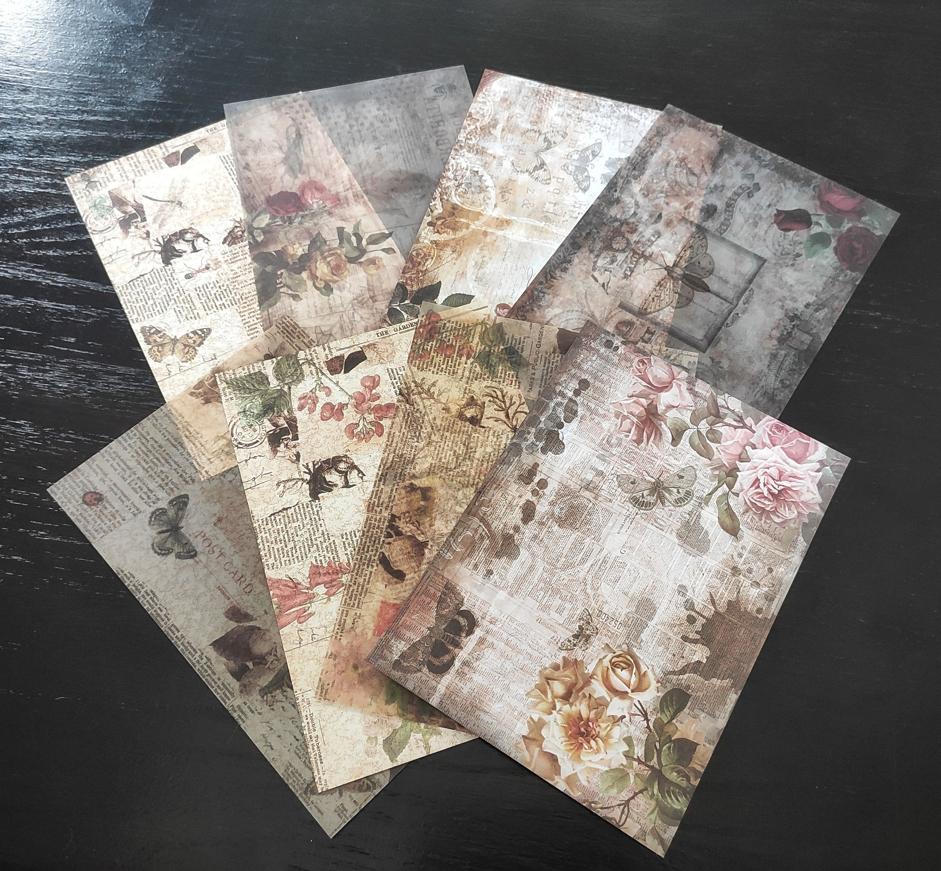Paper Set Insect Butterflies Retro Flowers Vellum Vintage Etsy In 2020 Retro Flowers Mixed Media Art Journaling Vintage Journal