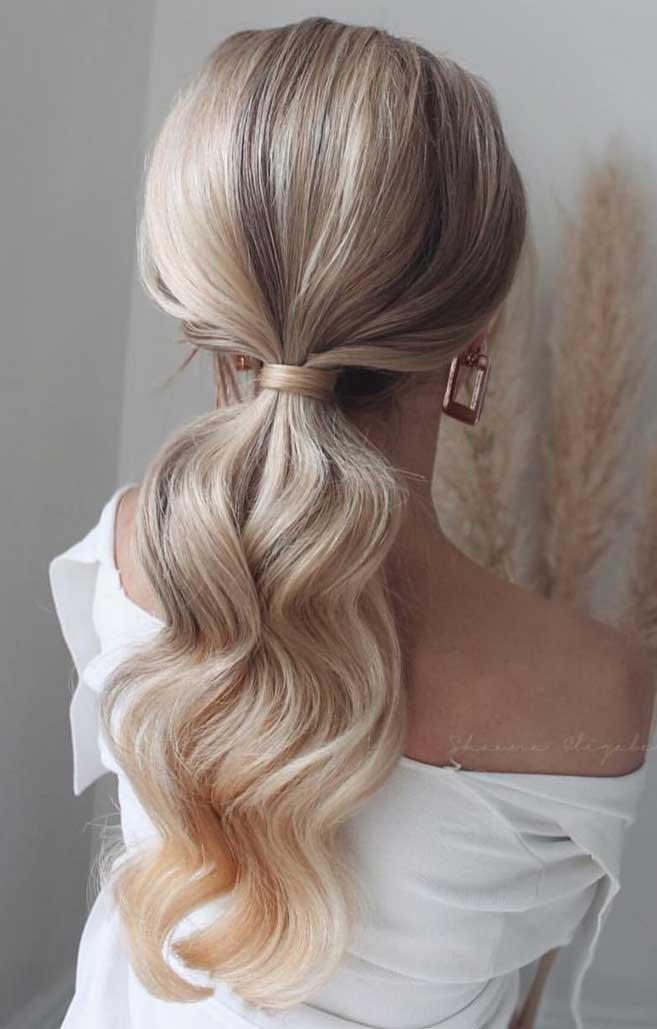 Vakreste hestehale frisyrer Bryllupsfest Perfect ideer #ponytailhairstyles Pony tail