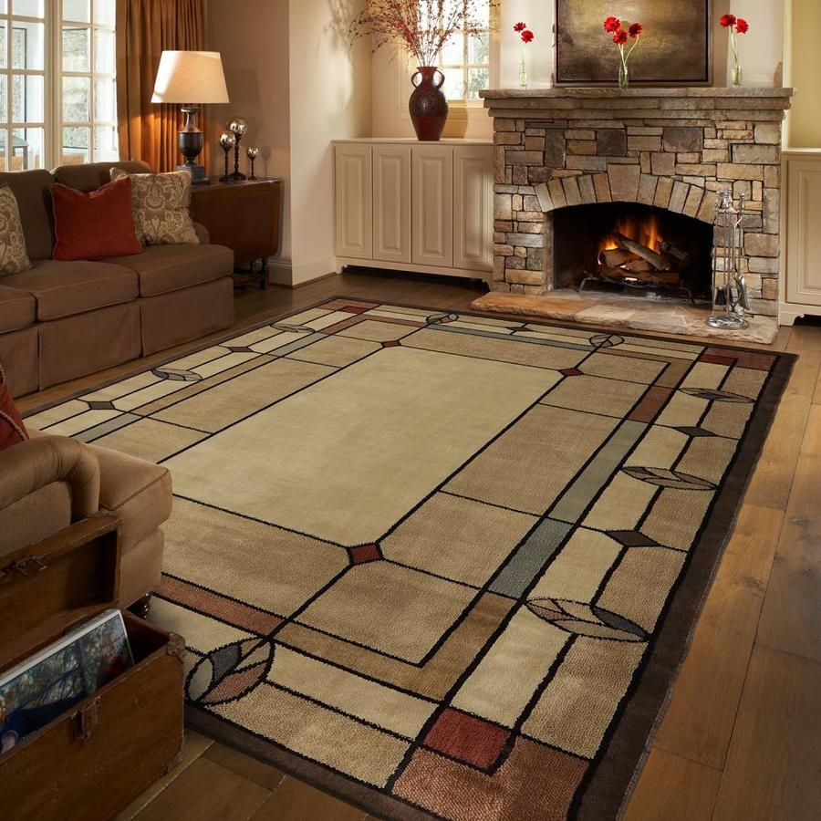 Mohawk Home Leaf Point Brown Indoor Area Rug Common 8 X 10