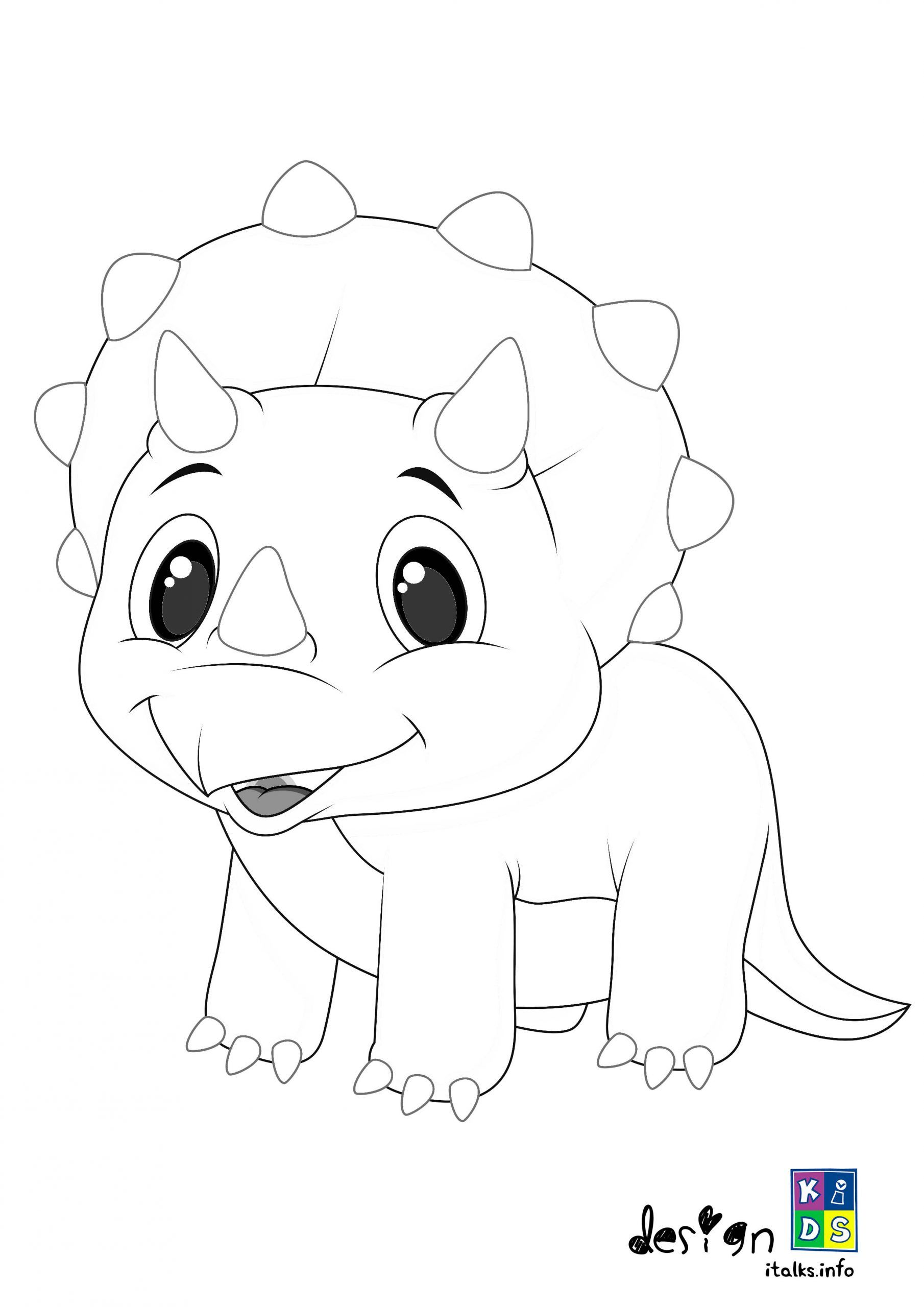 Cute Baby Triceratops Coloring Page Special For Kids in 2020