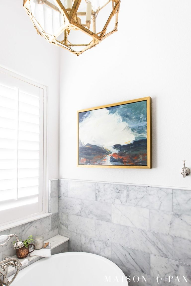 Learn how to create an abstract landscape with this DIY abstract art for beginners. Large scale wall art doesn't have to be expensive or hard! #diywallart #abstractart #landscape #painting