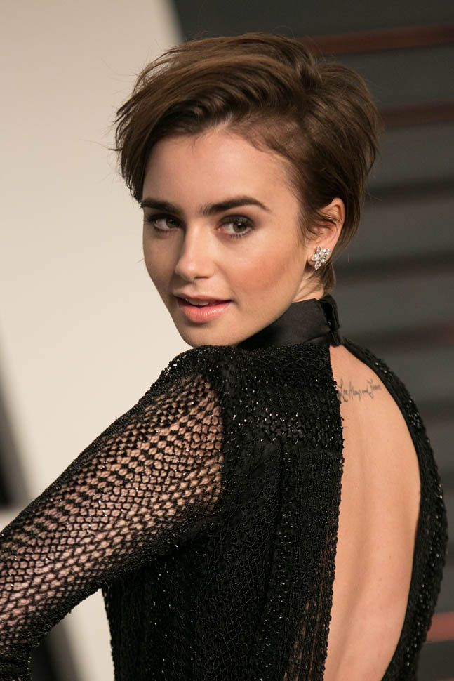 ... Lily Collins arrives to the 2015 Vanity Fair Oscar Party February 22, 2015 in Beverly ...