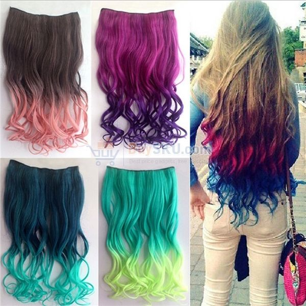 Cool One Piece 2 Color Gradient Long Curly Wavy Clip On Magic Wig