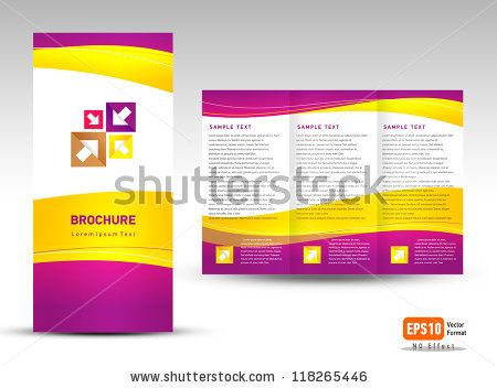 Vector brochure tri-fold layout design template yellow violet white ...