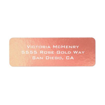 Rose Gold foil shimmer return address label Rose gold foil and