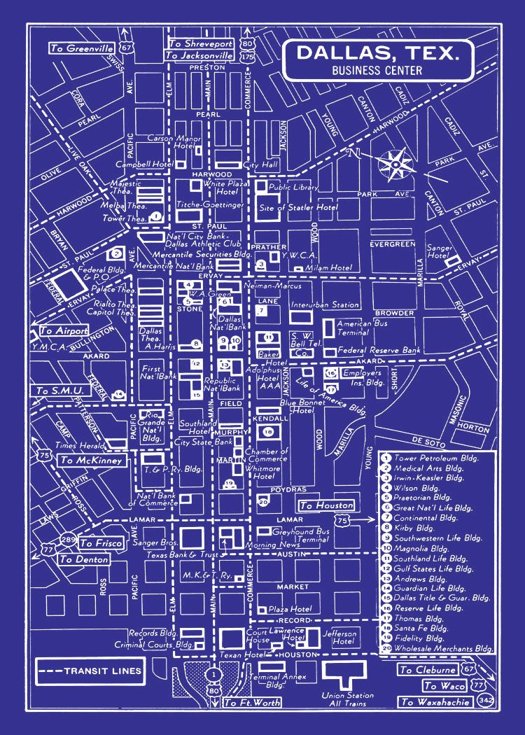 1949 vintage map of downtown dallas dallas pinterest vintage 1949 vintage map of downtown dallas blueprint map print poster malvernweather Choice Image