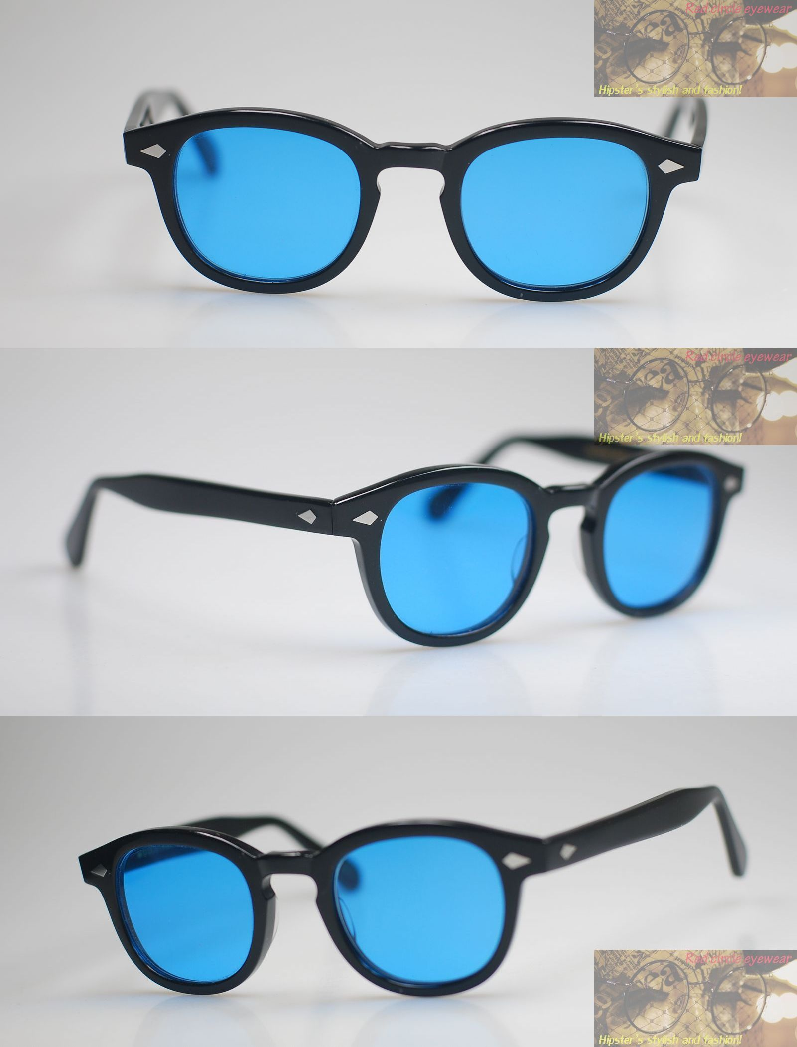 270cffd1862 Sunglasses 48559  Retro Vintage Johnny Depp Sunglasses Black L Frame With Blue  Lens Free Shipping -  BUY IT NOW ONLY   51.18 on eBay!