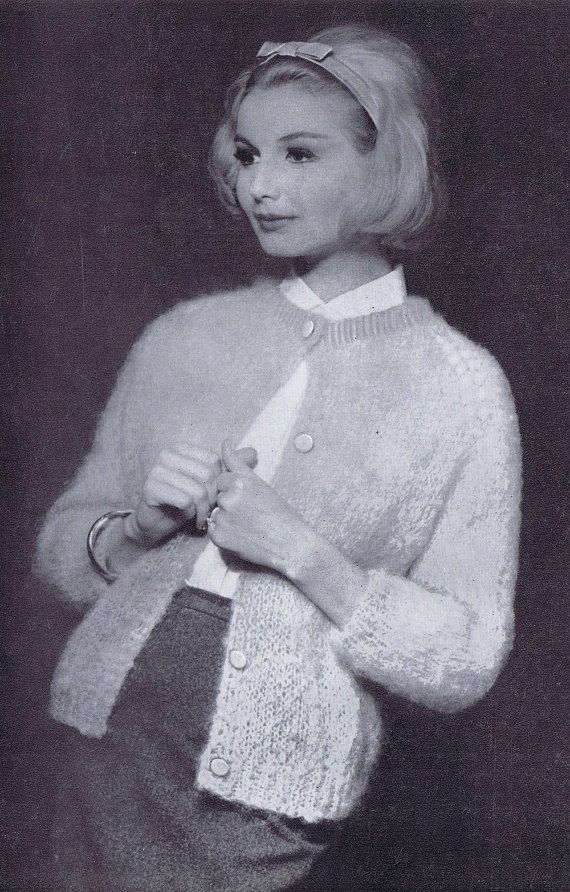 3/4 Sleeve Women's Mohair Cardigan Vintage Knitting Pattern PDF 1950s Women's Fashion
