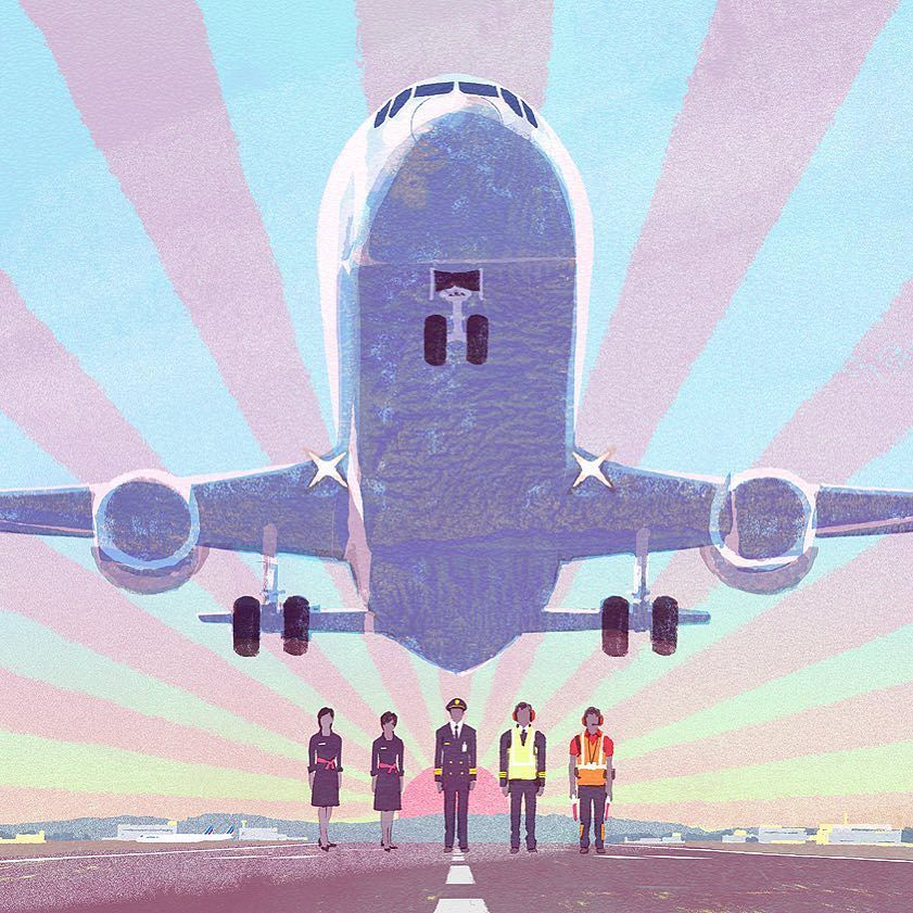 Air France #illustration #painting #tatsurokiuchi #art #drawing #life #lifestyle #happy #japan #people #木内達朗 #イラスト #イラストレーション #airfrance #france #pilot