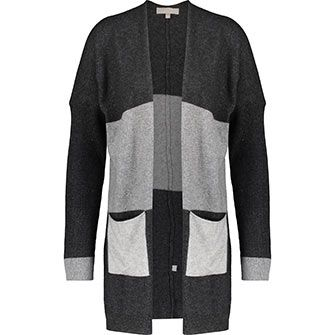 Grey Striped Cashmere Blend Cardigan