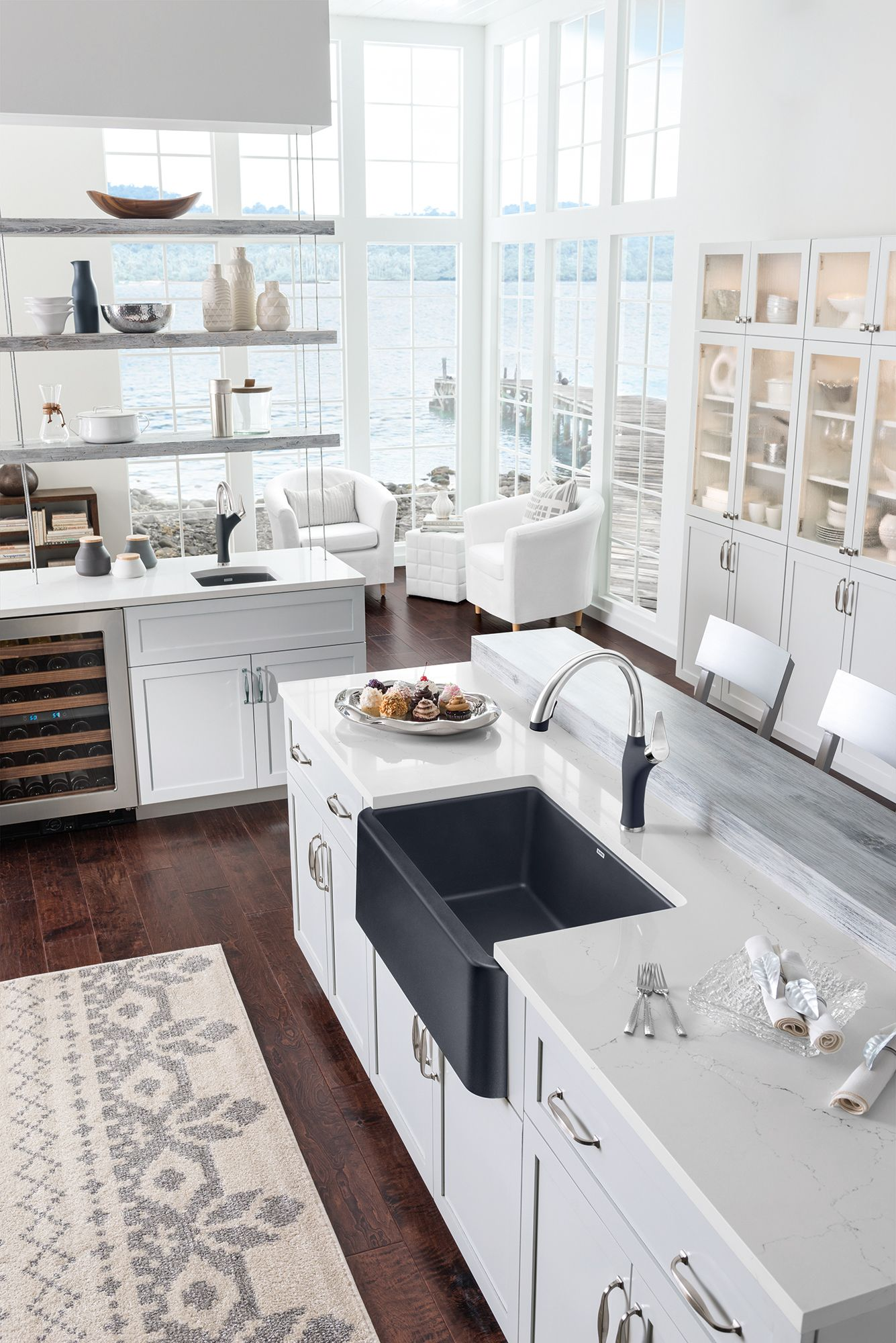BLANCO IKON Sink in Anthracite and matching ARTONA Faucet White ...