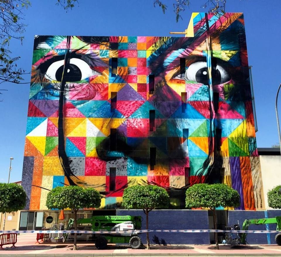 """Eduardo Kobra, """"From the street to the museum"""" curated by Murcia Street ART Project at MUBAM in Murcia, Spain, 2017, in progress"""
