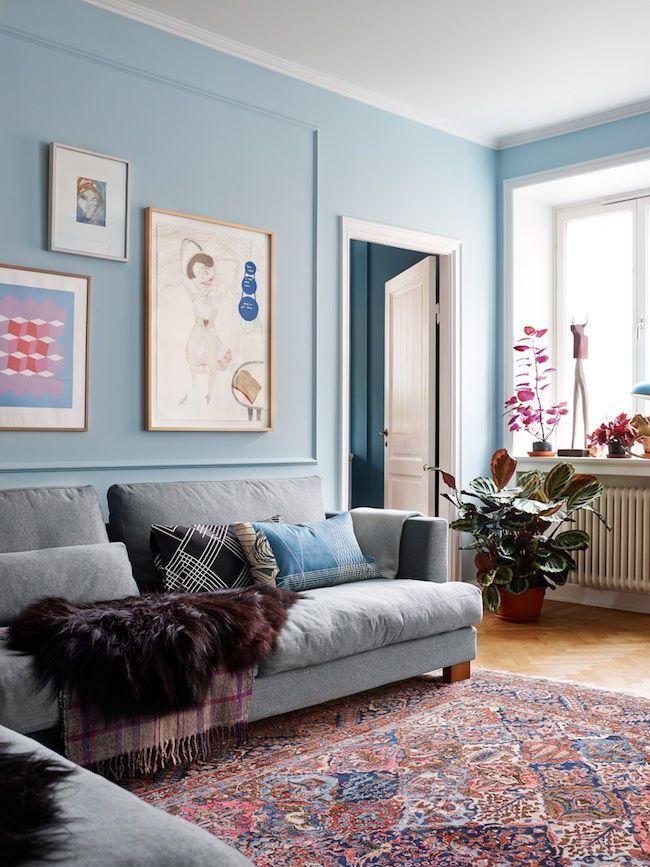 The Wonderful Home Of A Swedish Food Blogger Living Room Colors Living Room Lighting Light Blue Walls