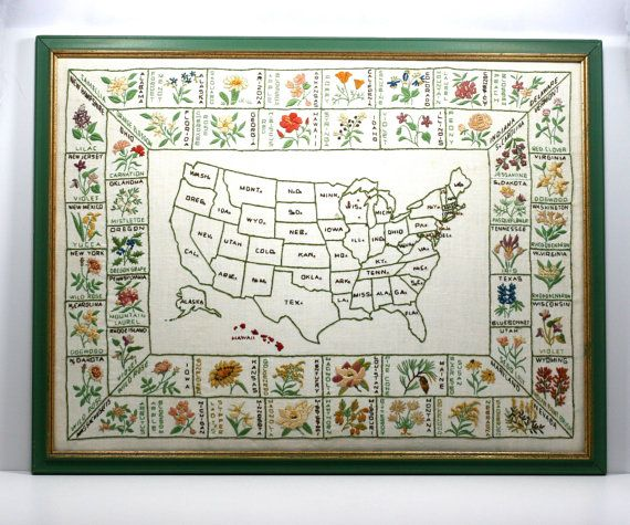 Large Framed HandEmbroidered Map Of The United States With State - Large framed us map