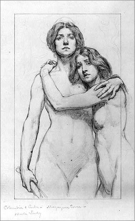 Two embraced women by Cox