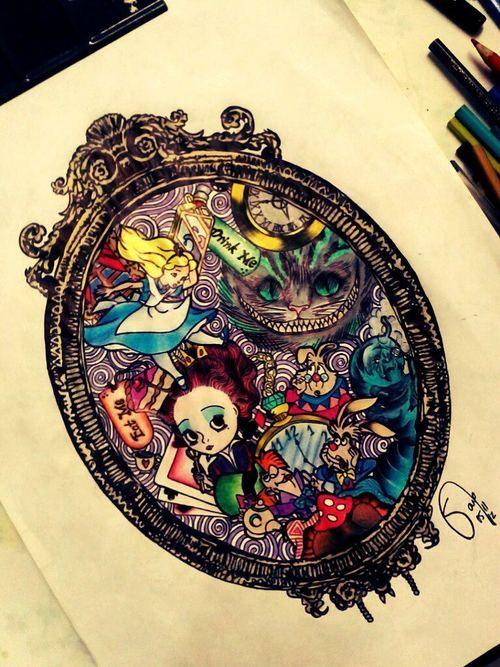 Alice In Wonderland Art Tumblr Com Imagens Tatuagem Das
