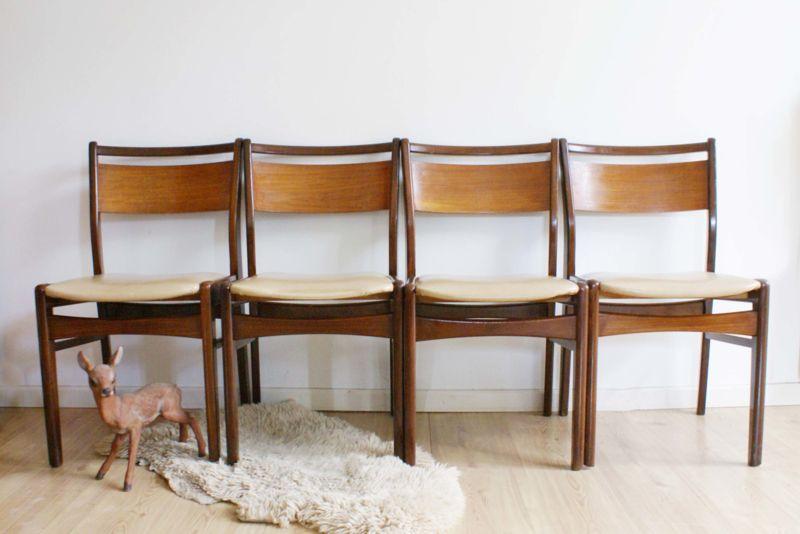 Stoelen Retro Design.Set Houten Vintage Dinner Chairs 4 Retro Design Stoelen Met Skai