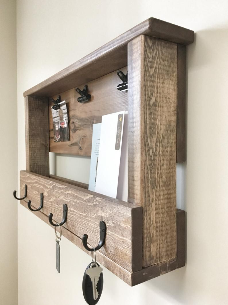 Wooden Key Chain Rack Wall Mail Holder Key Chain Holder Etsy In 2020 Key Holder Diy Wooden Storage Wooden Key Holder