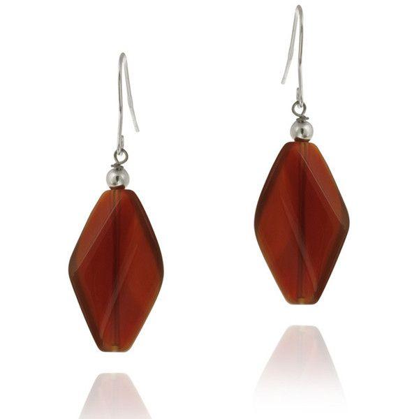 Glitzy Rocks Sterling Silver Carnelian Dangle Earrings ($15) ❤ liked on Polyvore featuring jewelry, earrings, diamond shaped earrings, long earrings, glitzy rocks jewelry, earrings jewelry and sterling silver long earrings
