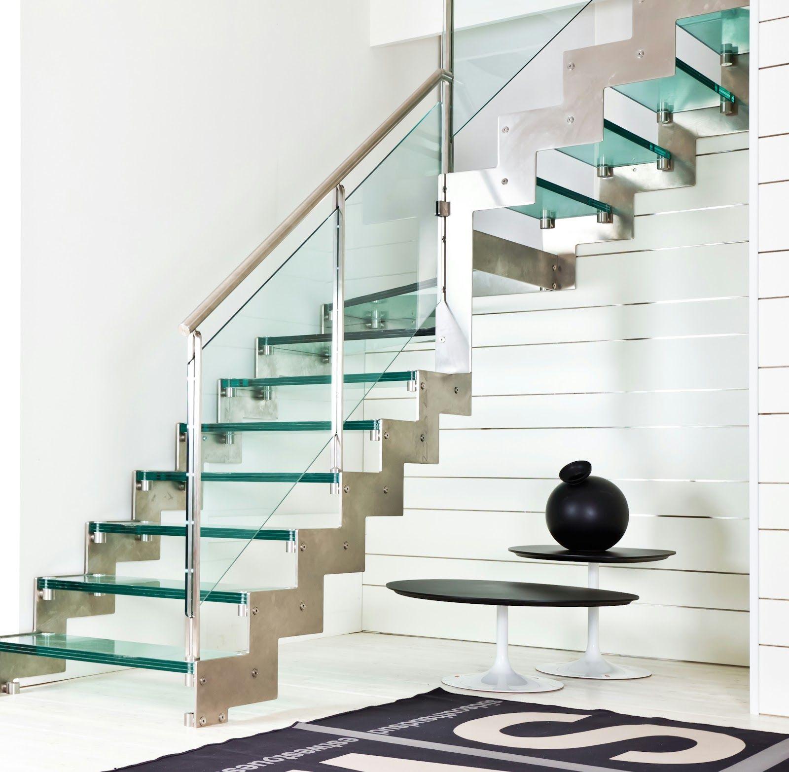 Escalera De Vidrio Y Metal Templados Pinterest Escaleras De  ~ Materiales Para Peldaños De Escaleras Interiores