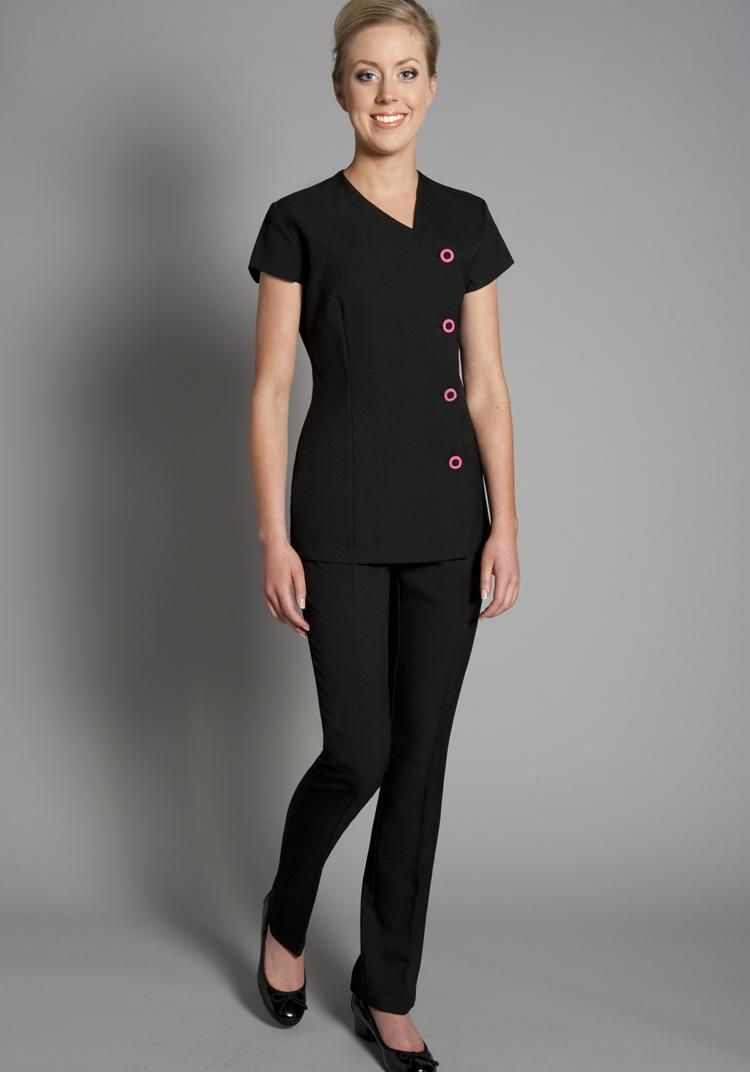 Florence roby beauty uniforms beauty tunics salon wear for Spa vest uniform