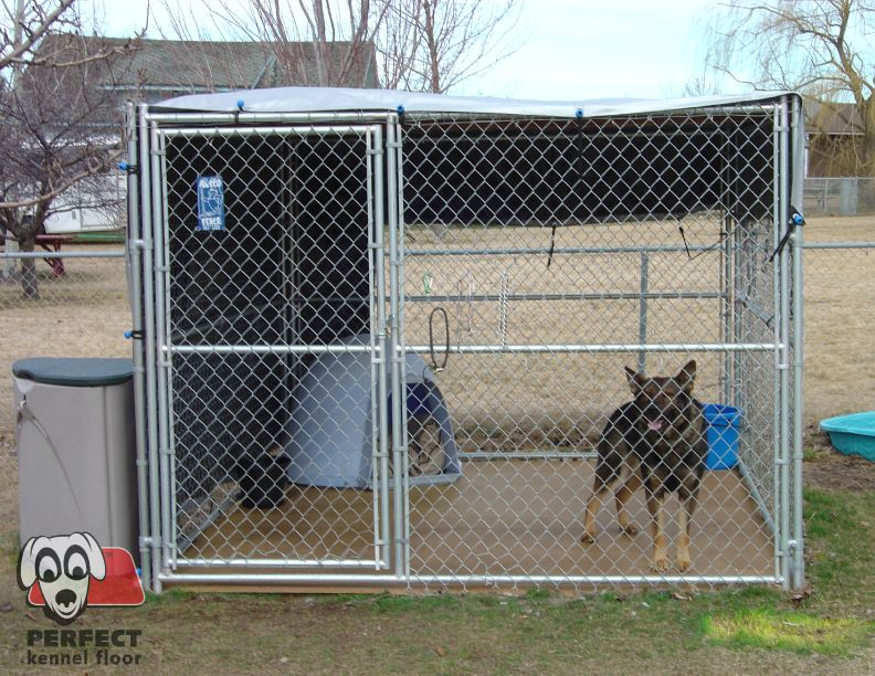 Sheltered With A Wind And Sun Block Kennel Floor Provides Comfort And Prevents Digging Dog House Plans Dog House Luxury Dog Kennels