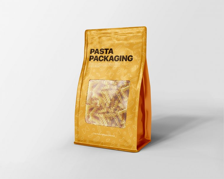 Download Free Pasta Package Flat Bottom Pouch Bag Mockup Free Package Mockups Bag Mockup Pouch Packaging Free Packaging Mockup