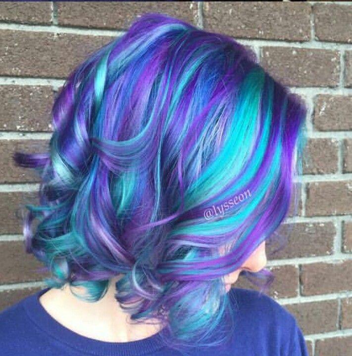 Blue Purple Dyed Hair Hair Color Unique Cool Hair Color Hair Color Purple