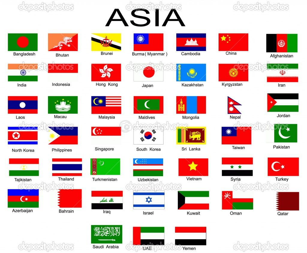 individual flags of asia with names - Google Search ...