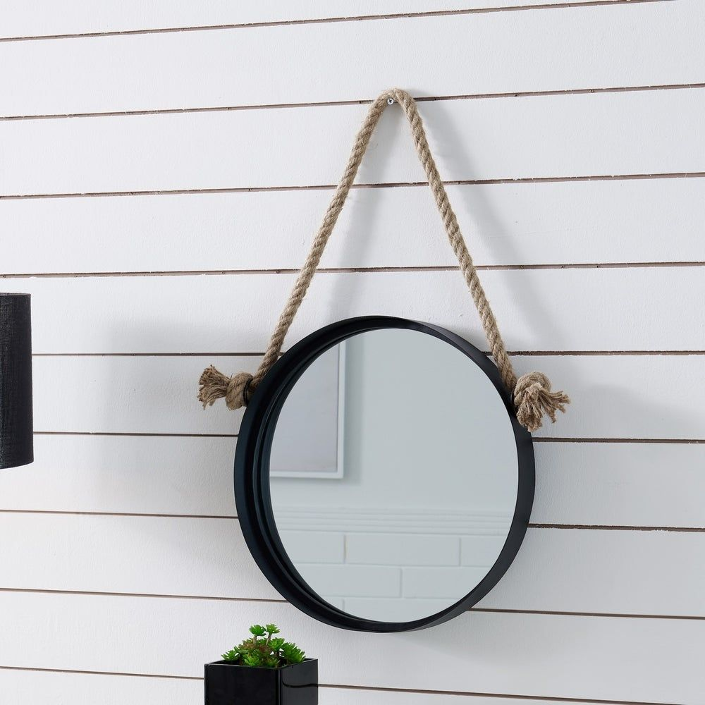 Danya B 15 Black Iron Framed Round Accent Mirror With Hanging Rope Mirror Mirrors Wayfair Hanging Rope