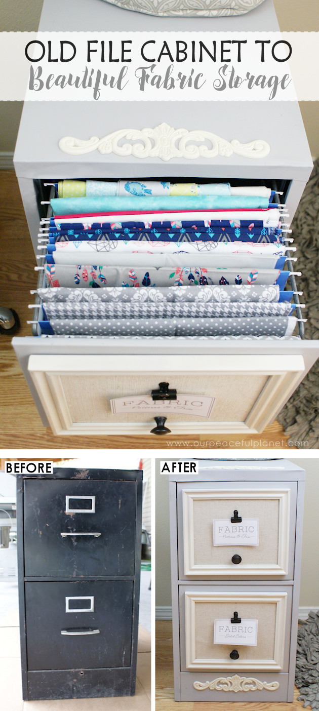 2 Drawer File Cabinet Makeover For Fabric Storage ·   My dream house ...