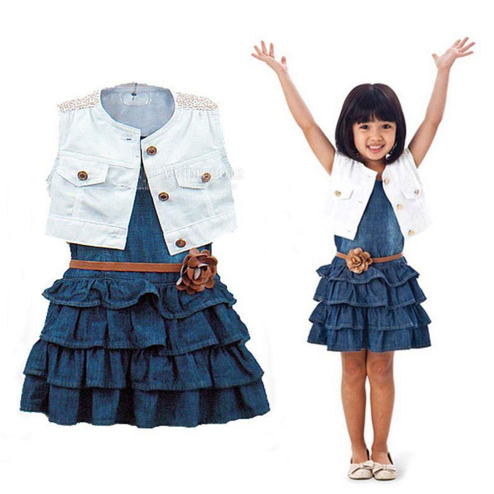 315b2441d Baby Girls Kids Sleeveless Denim Jacket Ruffled Jean Dress Clothing Sets  FT920 #Other #DressyEverydayHolidayPageantWedding