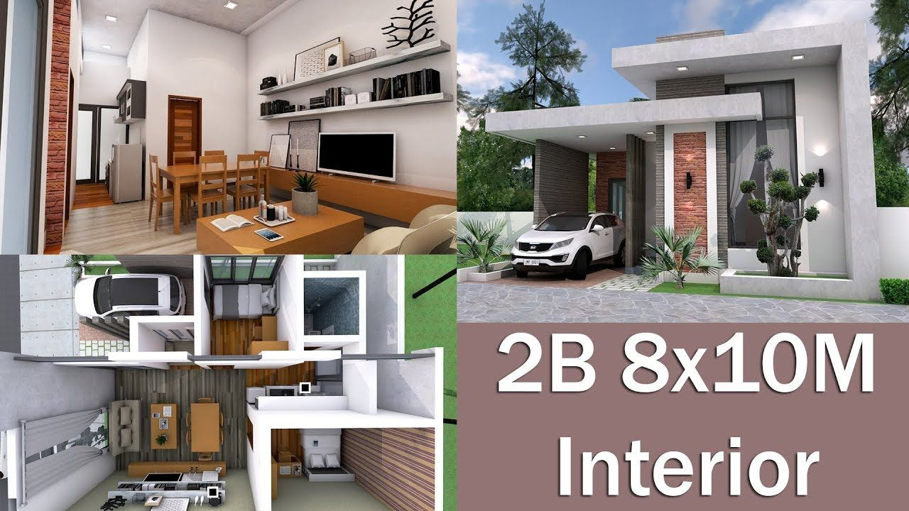 Interior Design Home Plan 8x10m With 2 Bedrooms Modern Bungalow