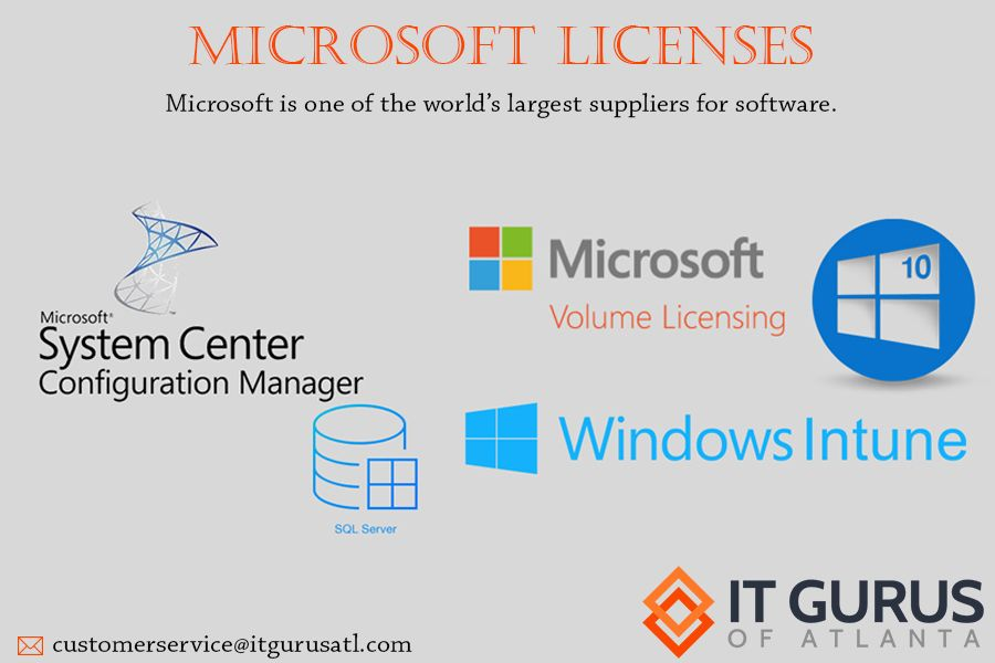 I T Gurus of Atlanta is a reseller for many other popular licenses