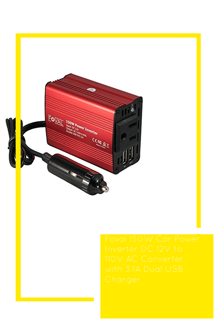Foval 150W Power Inverter DC 12V to 110V AC Converter with 3.1A Dual USB Car Charger