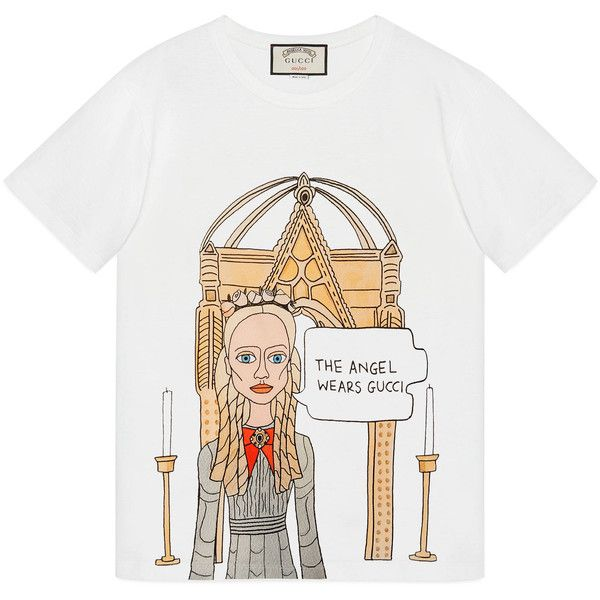 11daab1bd Gucci Angelica Hicks Limited Edition t-shirt ❤ liked on Polyvore featuring  tops, t-shirts, gucci, white tee, gucci t shirt, white t shirt and white  tops
