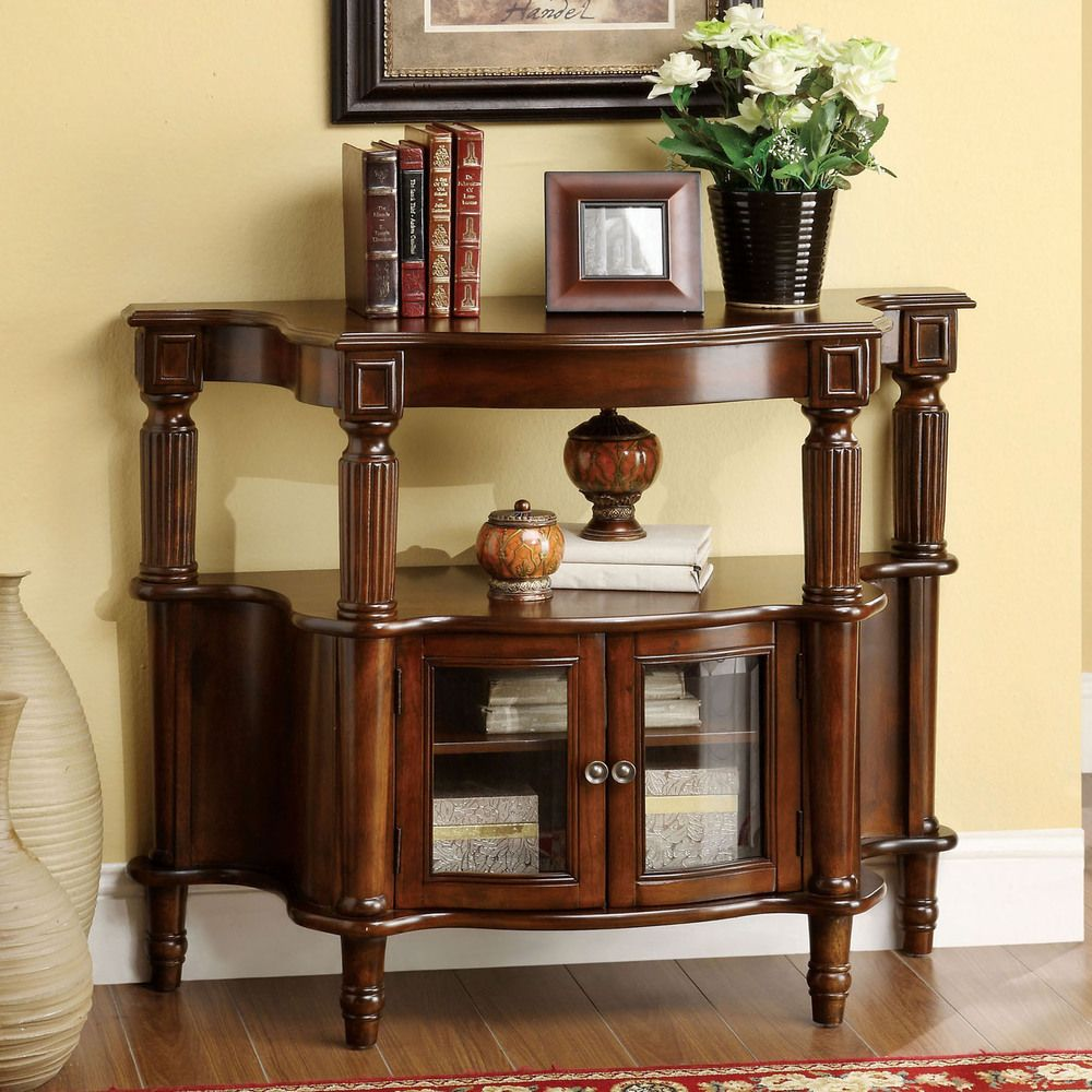 Furniture of America Georgia Classic Antique Walnut Entryway Table -  Overstock™ Shopping - Great Deals - Furniture Of America Georgia Classic Antique Walnut Entryway Table