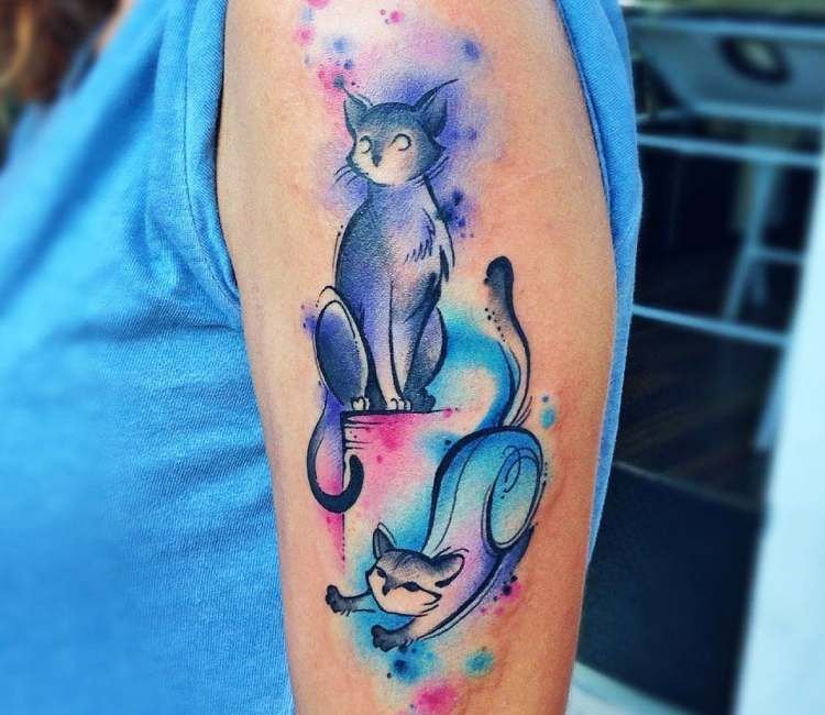 Two Cats Tattoo By Claudia Denti Post 25012 Cat Tattoo Designs Cute Cat Tattoo Cat Tattoo