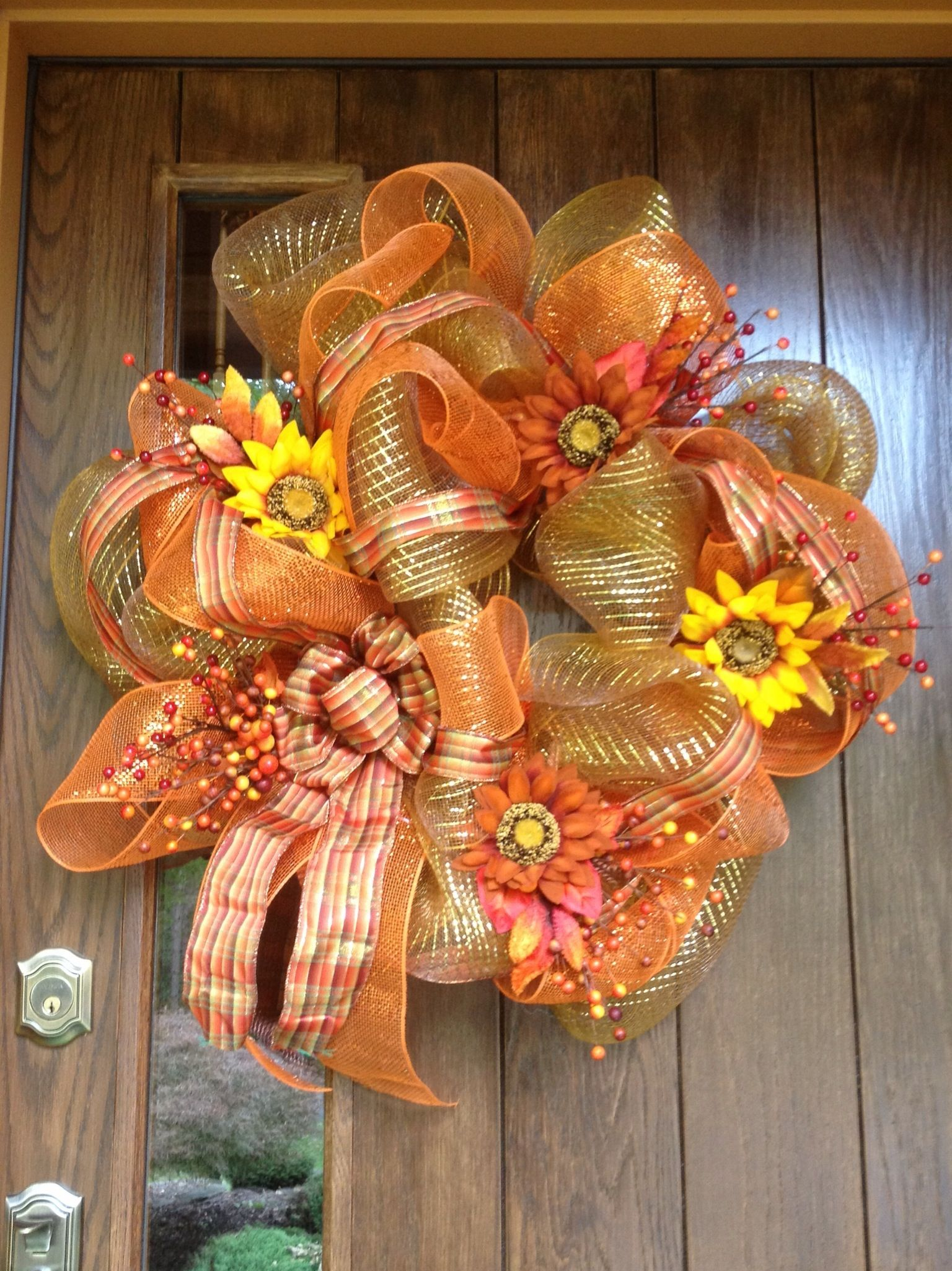 Our front door for fall! Wreath inspired by Pinterest