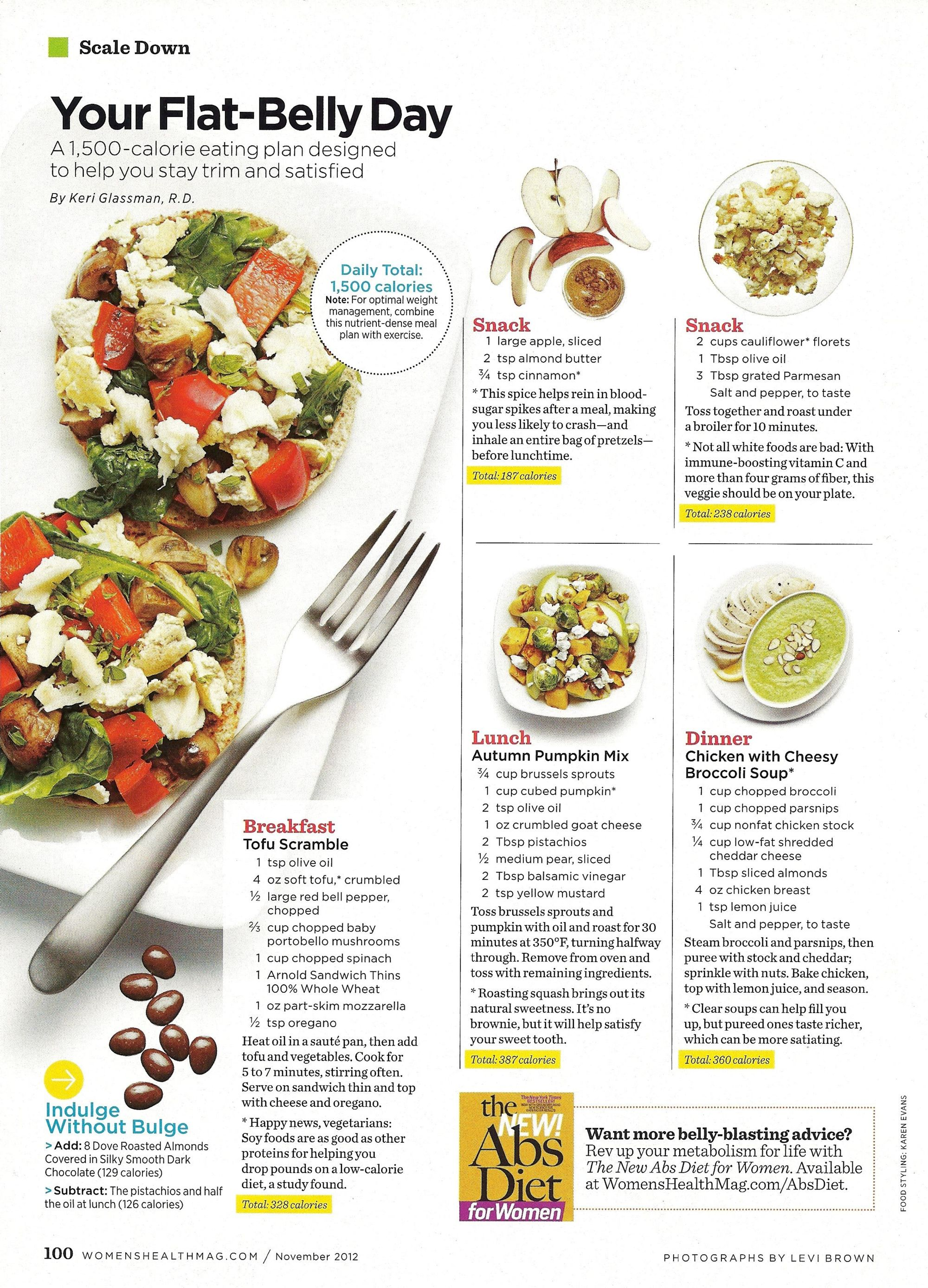 Flat belly day women 39 s health magazine food pinterest for Plan belley