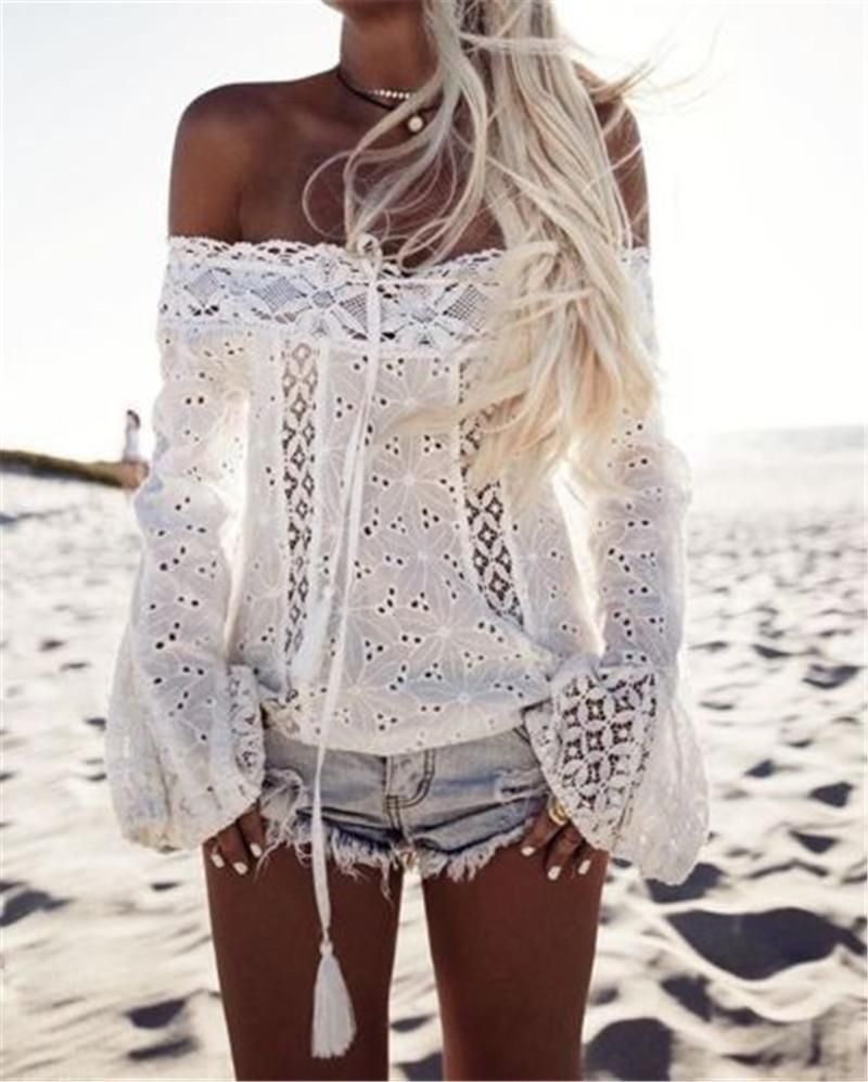 83bd21ae6d340 Bohomie Fashion Slash Neck Lace Top Women Summer Blouse