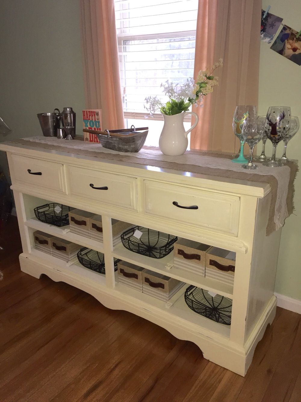 Diy dresser to buffet table made by my bffs diy for Table buffet