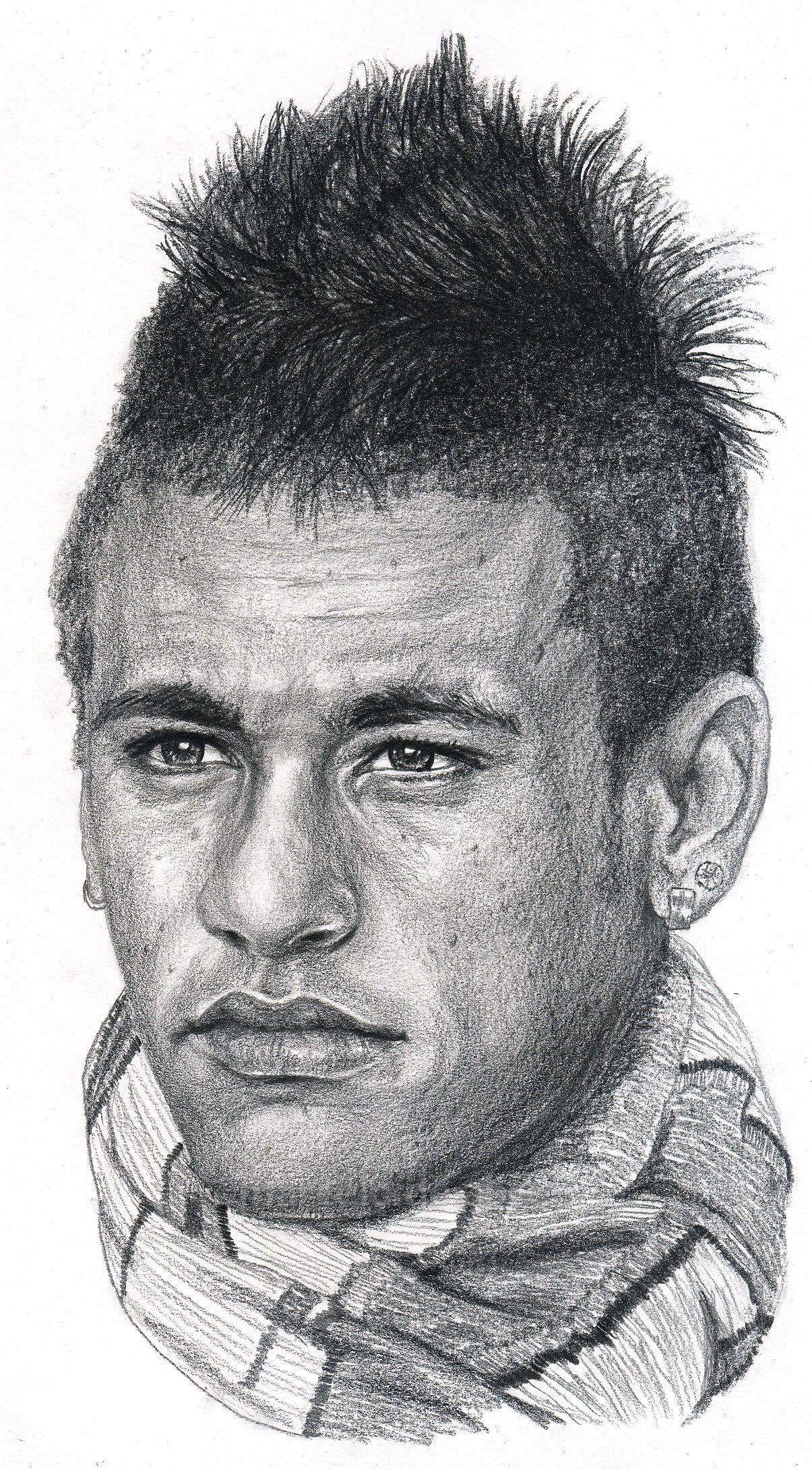 Brazilian soccer player neymar drawing by marcelo f de abreu