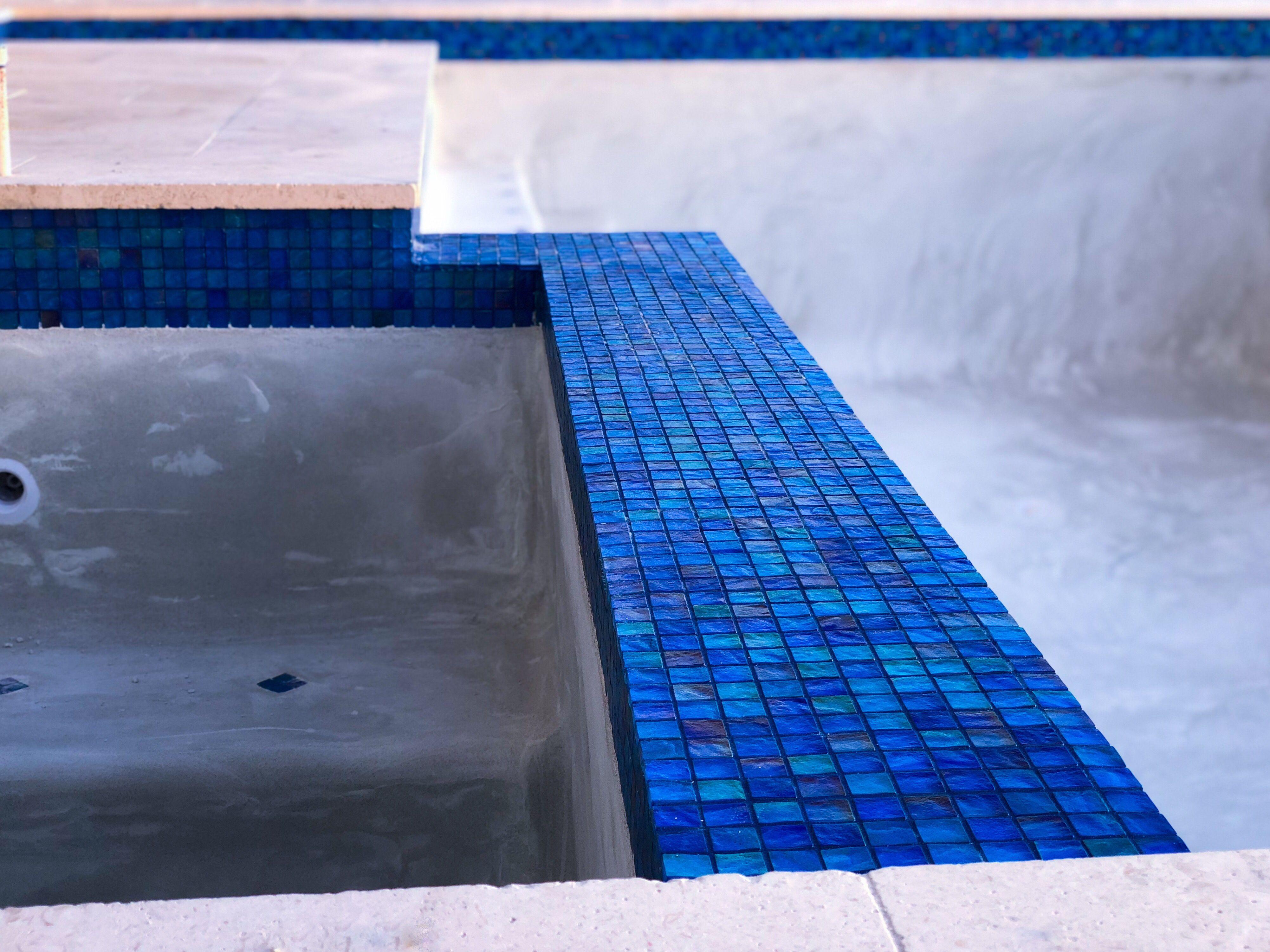 Blue pool grout. #bluegrout #pool #poolinspo #npttile ...