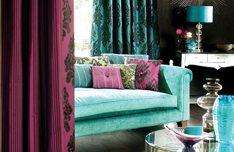 Wall Colors · Living Room In Bold Colour Combo Of Turquoise And Wine At  Awesome Colorful Living Room Design
