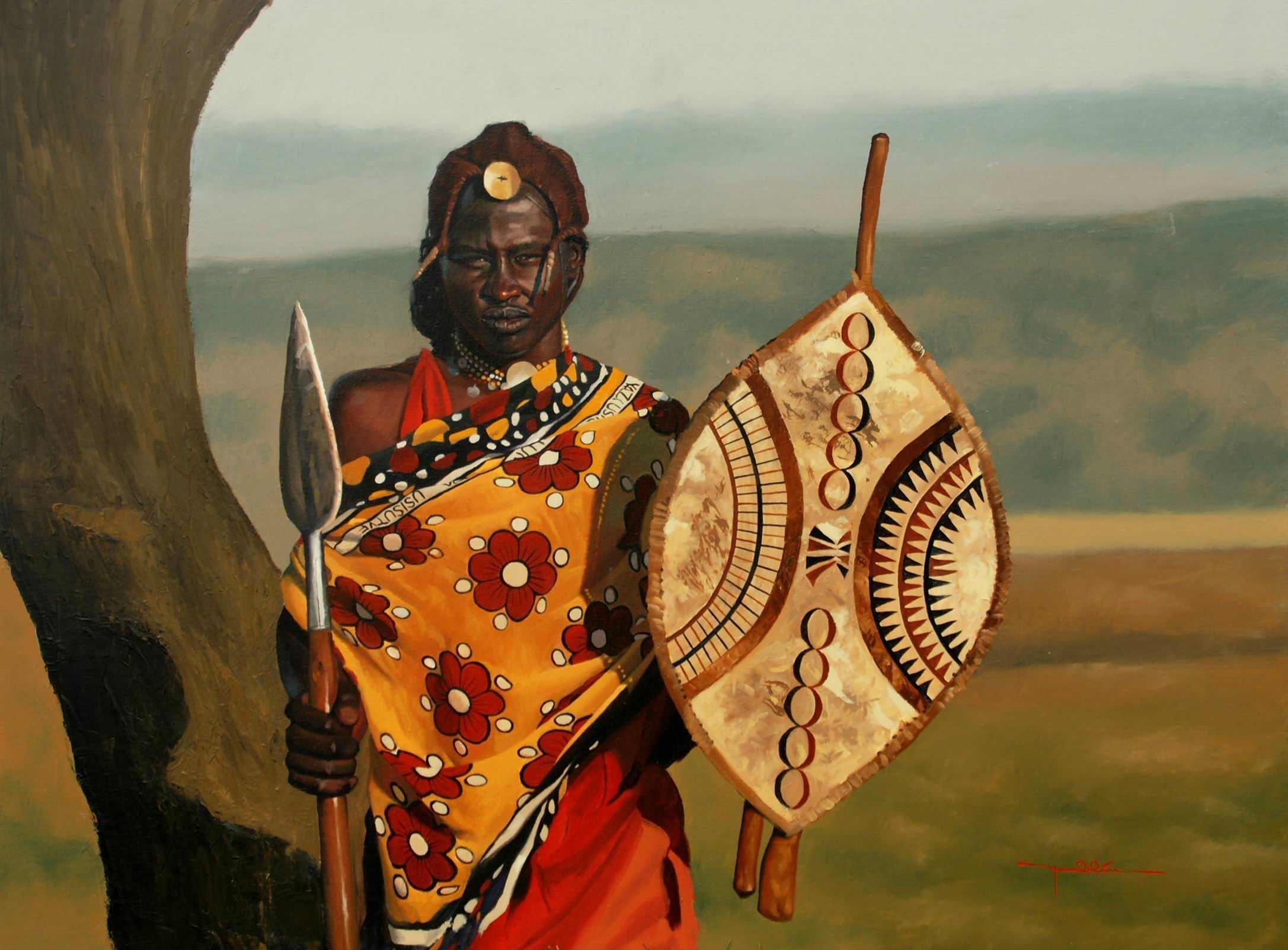 African tribal warrior