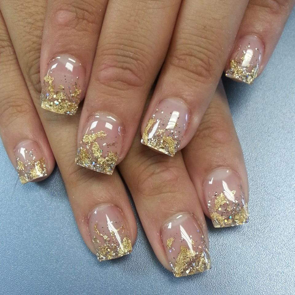 French Manicure With Gold Tips