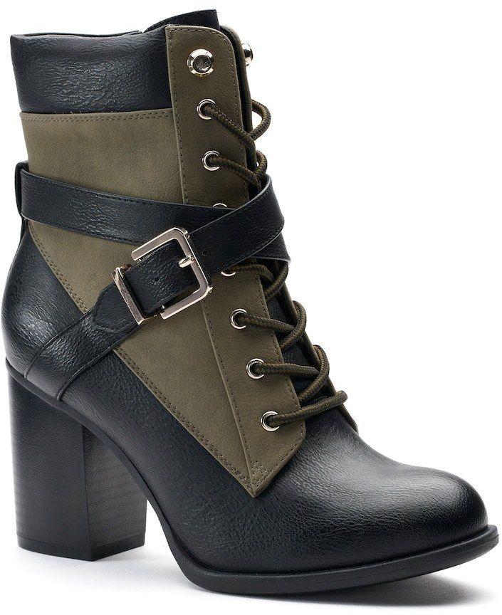 High Heeled Combat Boots