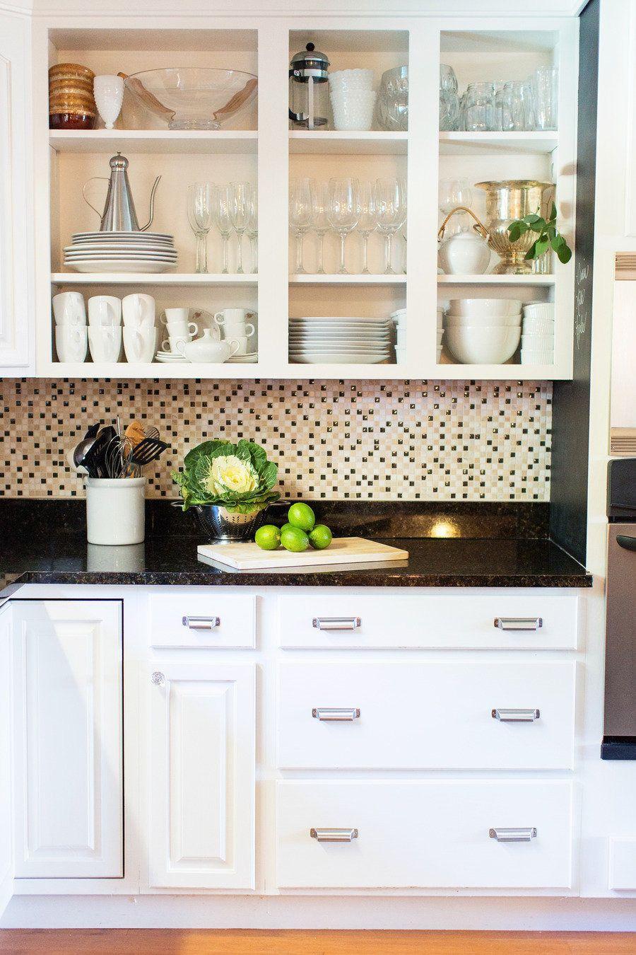 Kitchen shelf dishes backsplash kitchencabinets