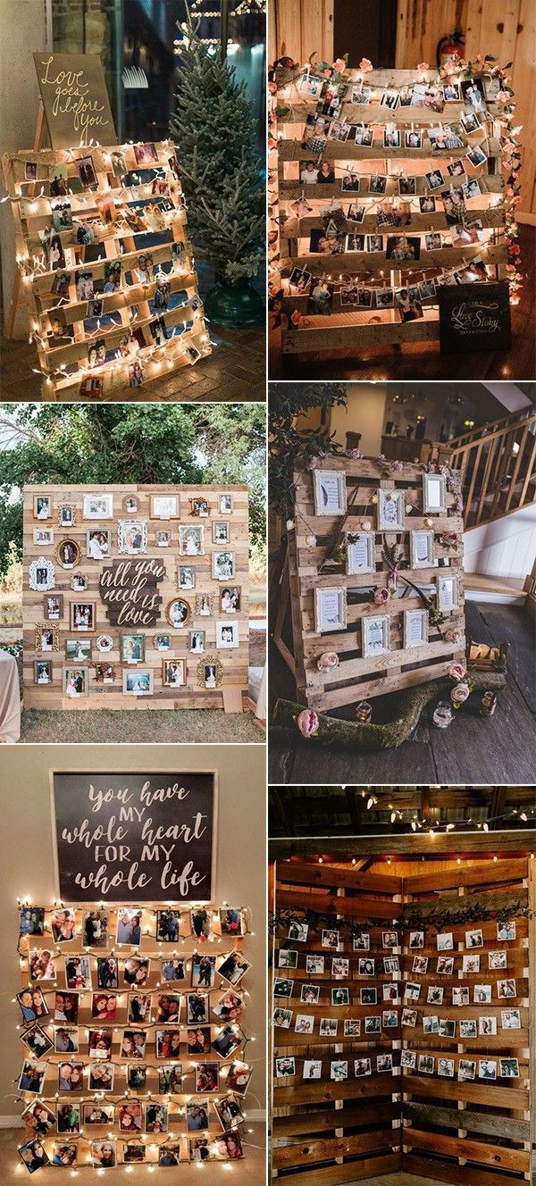 24 DIY Land Hochzeitsideen mit Paletten, um Budget zu sparen - EmmaLovesWeddings -  Holzpaletten rustikale Hochzeit Foto-Display-Ideen  - #budget #decorationforhome #DIY #diyDreamhouse #diyhomecrafts #emmalovesweddings #hochzeitsideen #homediyorganizations #Land #mit #paletten #Rustichouse #sparen #diyweddingdecorations
